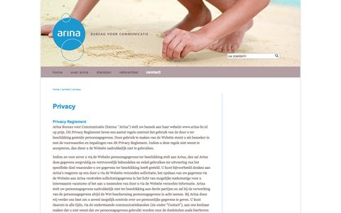 Screenshot of Privacy Page arina-bc.nl - privacy - captured Oct. 4, 2014