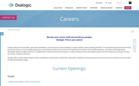 Screenshot of Jobs Page dialogic.com - Careers - This is your place! | Dialogic - captured Jan. 27, 2018