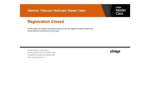 Screenshot of Landing Page citrix.com - Citrix - Webinar: February NetScaler Master Class - captured March 1, 2018