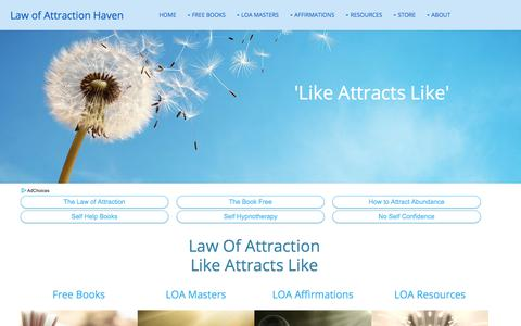 Screenshot of Home Page law-of-attraction-haven.com - The Law of Attraction: Like Attracts Like - captured Sept. 22, 2018