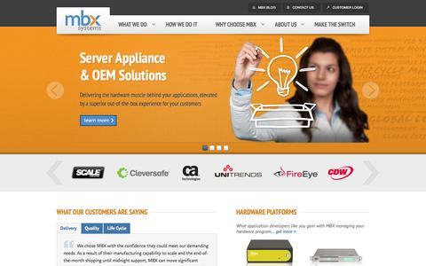 Screenshot of Home Page mbx.com - Network Server Appliance - OEM Solutions | MBX Systems - captured Oct. 3, 2014