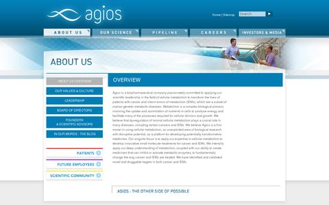 Screenshot of About Page agios.com - Agios - captured July 20, 2014