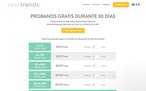 Screenshot of Pricing Page real-trends.com - Real Trends | Precios Argentina - captured July 13, 2018