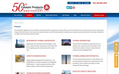 Screenshot of Products Page cpilink.com - Thermal Oxidizer, Regenerative Thermal Oxidizer, Catalytic Oxidizer. - captured Aug. 16, 2019