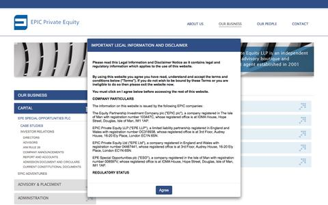 Screenshot of Case Studies Page epicprivateequity.com - Case Studies - EPIC Private Equity - captured May 12, 2017