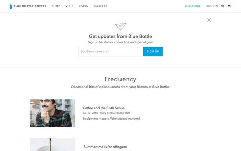 Screenshot of Blog bluebottlecoffee.com - The Frequency   Blue Bottle Coffee - captured July 25, 2018