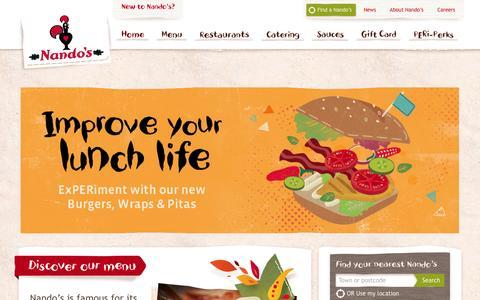 Screenshot of Home Page nandos.com.au - PERi-PERi flame-grilled Chicken Restaurants | Nando's Australia - captured Feb. 17, 2016