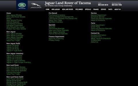 Screenshot of Site Map Page jaguaroftacoma.com - Jaguar Land Rover dealer Seattle Fife Tacoma WA - Jaguar Land Rover - captured Oct. 6, 2014