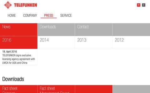 Screenshot of Press Page telefunken.com - Telefunken -PRESS RELEASES - captured Dec. 21, 2018