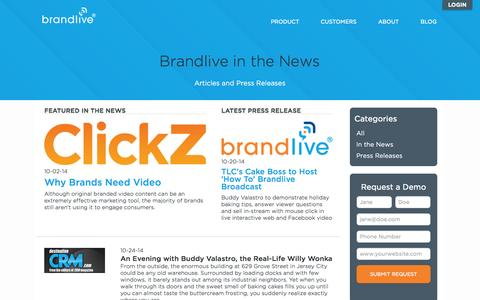 Screenshot of Press Page yourbrandlive.com - Brandlive press releases and Brandlive in the news. - captured Nov. 3, 2014