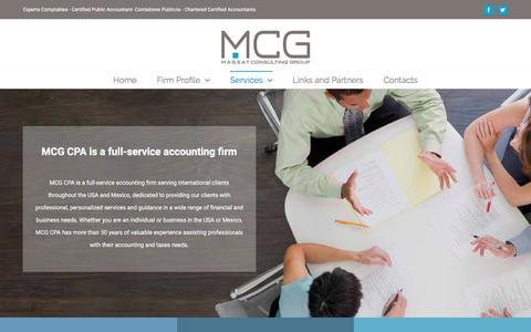 Screenshot of Services Page mcgintl.com - Services - MCG - Certified Public Accountant - Expert Comptable - ACCA - New York - Miami - Mexico - captured March 4, 2016