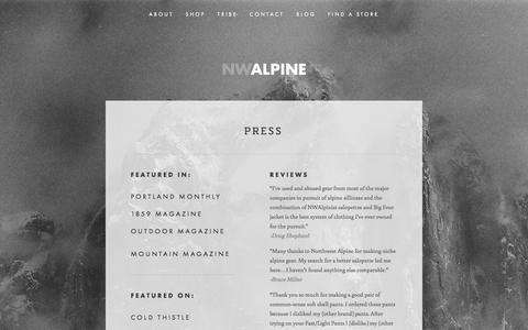 Screenshot of Press Page nwalpine.com - PRESS — NW ALPINE - MADE LOCALLY. LOVED GLOBALLY. - captured Oct. 7, 2014