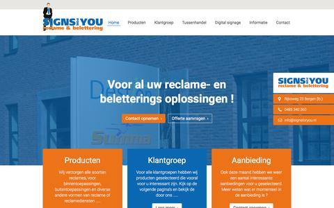 Screenshot of Home Page signsforyou.nl - Voor al uw reclame- en beletterings oplossingen ! | Signs for You - captured Dec. 6, 2016
