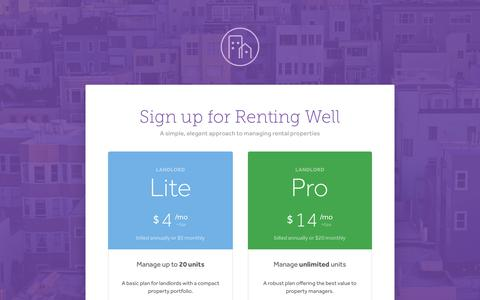 Screenshot of Signup Page rentingwell.com - Sign Up - Renting Well - captured Jan. 24, 2018