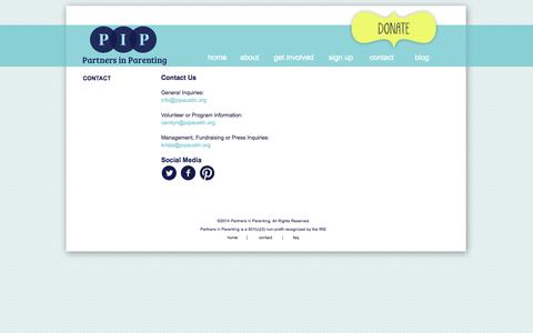 Screenshot of Contact Page pipaustin.org - Contact Us | Partners in Parenting - captured Oct. 1, 2014