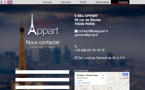 Screenshot of Contact Page belappart.fr - Contact | Chasseur immobilier - Bel'Appart, Paris - captured Sept. 30, 2014