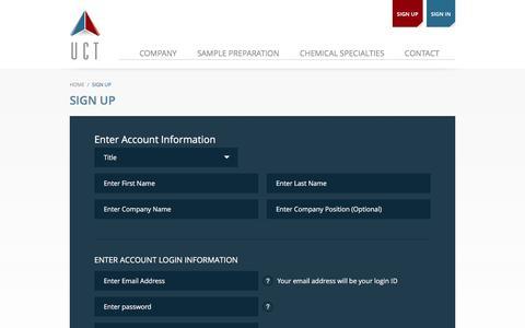 Screenshot of Signup Page unitedchem.com - Create New Customer Account | United Chemical - captured Nov. 18, 2016