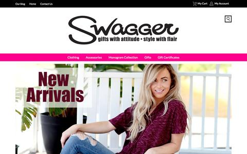 Screenshot of Home Page swaggergifts.com - Welcome to Shop Swagger  - Your One Stop Shop for Clothes, Jewelry, Gifts & Monogrammed Everything! - captured Aug. 15, 2016