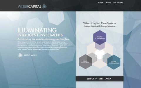 Screenshot of Home Page wisercapital.com - Wiser - captured Sept. 22, 2015