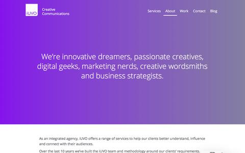 Screenshot of About Page iuvo.agency - Digital Campaigns | Graphic Design | Marketing | SEO - captured Oct. 16, 2017