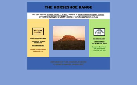 Screenshot of Home Page thehorseshoe.com.au - Horseshoe Range - Flinders Ranges 4WD, Accommodation & Camping - captured Oct. 3, 2014