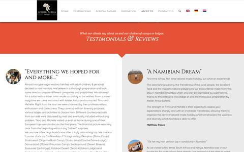 Screenshot of Testimonials Page atelier-africa.com - Testimonials - Atelier Africa Safaris - captured Oct. 4, 2018