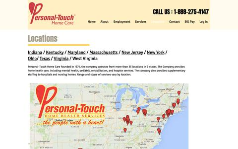Screenshot of Locations Page pthomecare.com - Personal Touch Home Care   Locations - captured July 3, 2017