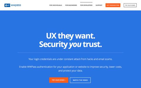 Screenshot of Developers Page wwpass.com - For Developers - captured April 20, 2017