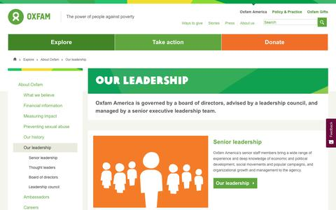 Screenshot of Team Page oxfamamerica.org - Our leadership   Oxfam - captured Aug. 21, 2019