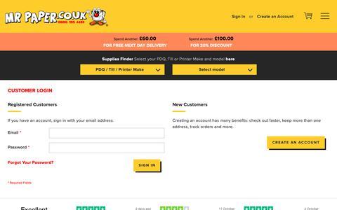 Screenshot of Login Page mrpaper.co.uk - Customer Login  - MrPaper - captured Oct. 19, 2018