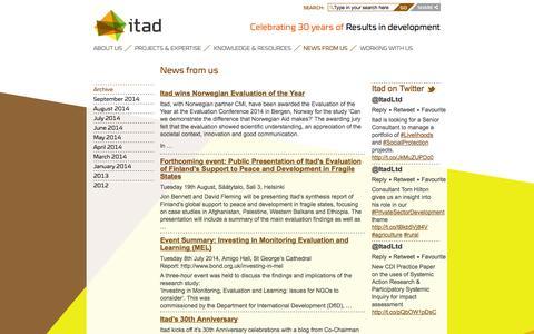 Screenshot of Press Page itad.com - News from us | Itad - captured Sept. 30, 2014