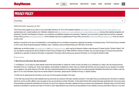 Raytheon: Legal - Privacy Policy