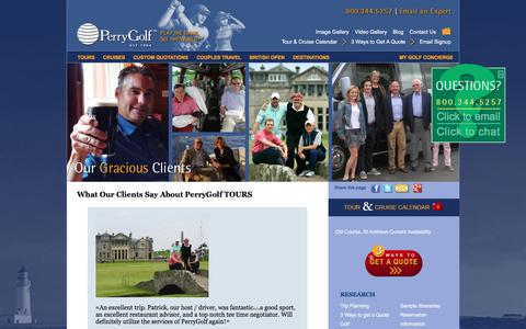 Screenshot of Testimonials Page perrygolf.com - Golf Vacation Scotland | Golf Scotland Ireland Packages | British Open | PerryGolf - captured Dec. 8, 2015