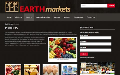 Screenshot of Products Page earthmarkets.com.au - Organic Fruit and Vegetables Products, freshest produce Cararra , Produce Market Robina, Earth Markets | Gold Coast, Australia - captured July 18, 2015
