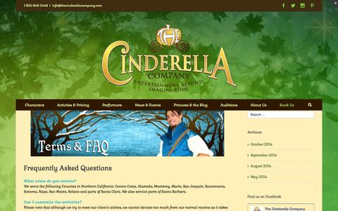 Screenshot of FAQ Page thecinderellacompany.com - FAQ | The Cinderella Company - captured Oct. 26, 2014