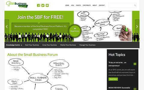 Screenshot of About Page small-business-forum.co.za - About - The Small Business Forum South Africa - captured Feb. 27, 2016