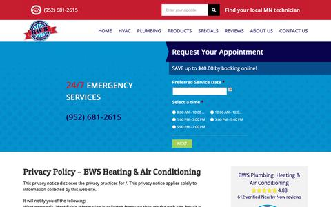 Screenshot of Privacy Page bwsheatingandair.com - Online Privacy Policy | BWS Heating, Air Conditioning & Plumbing - captured Oct. 5, 2018