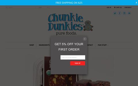 Screenshot of Home Page chunkiedunkies.com - Healthy Raw Vegan Desserts and Snacks - captured July 17, 2018