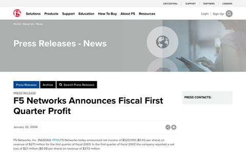 Screenshot of Press Page f5.com - F5 Networks Announces Fiscal First Quarter Profit - captured March 8, 2018
