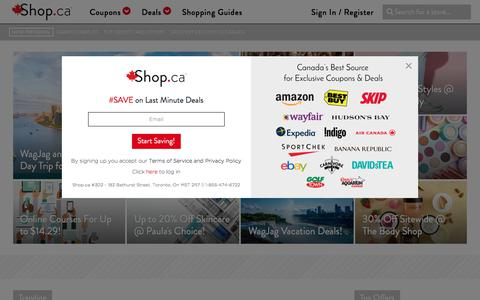 Screenshot of Home Page shop.ca - Shop - Canada's Starting Point for Saving Online - captured Aug. 18, 2019