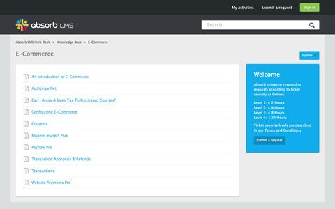 Screenshot of Support Page absorblms.com - E-Commerce – Absorb LMS Help Desk - captured Jan. 13, 2017