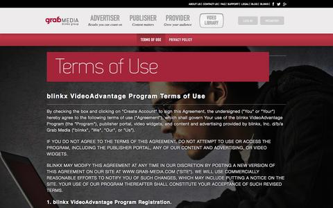 Screenshot of Terms Page grab-media.com - Grab | Legal - captured Sept. 13, 2014