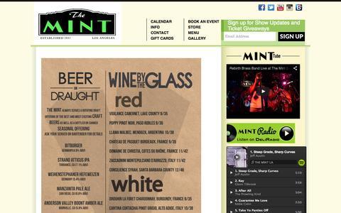 Screenshot of Menu Page themintla.com - The Mint: Music Tickets :: Menu - captured Oct. 8, 2014