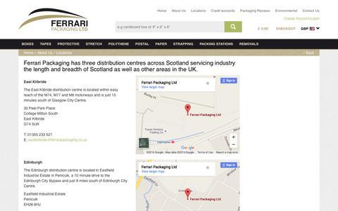 Screenshot of Locations Page ferraripackaging.co.uk - Ferrari Packaging Locations Throughout Scotland - captured Feb. 7, 2016