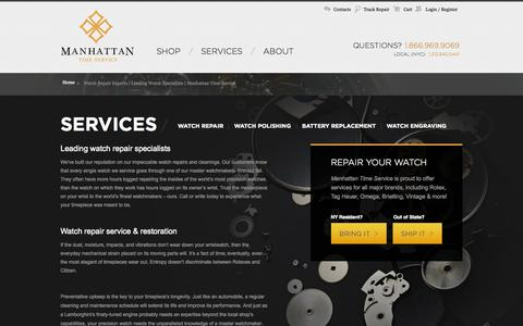 Screenshot of Services Page watchrepairny.com - Watch Repair Experts | Leading Watch Specialists | Manhattan Time Service - captured Oct. 3, 2014