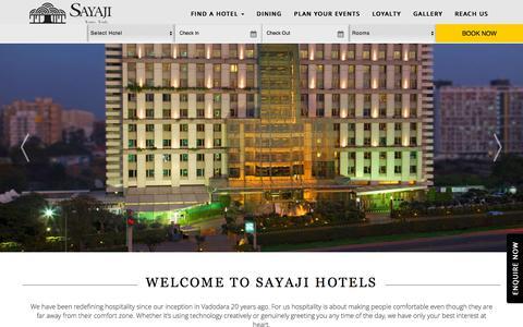 Screenshot of Home Page sayajihotels.com - Sayaji Hotels   Luxury 5 Star Hotel Experience   True Indian Hospitality - captured Sept. 22, 2018