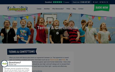 Screenshot of Terms Page barracudas.co.uk - Terms & Conditions | Barracudas Activity Day Camps - captured June 24, 2019