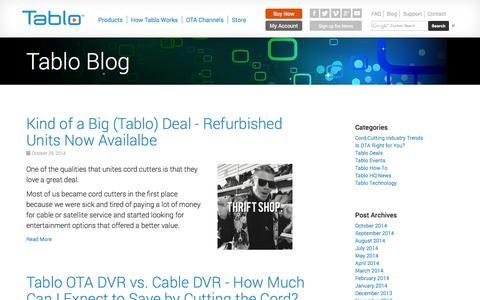 Screenshot of Blog tablotv.com - Tablo Blog | Over The Air (OTA) DVR | Tablo - captured Oct. 31, 2014