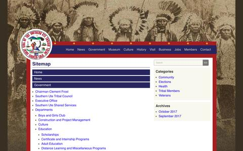 Screenshot of Site Map Page southernute-nsn.gov - Southern Ute Indian Tribe | Sitemap - captured Oct. 23, 2017