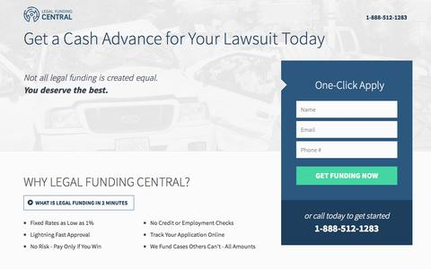 Screenshot of Landing Page legalfundingcentral.com - Lawsuit Funding from Legal Funding Central - captured Oct. 27, 2014